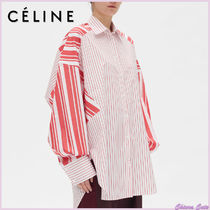 CELINE Stripes Casual Style Long Sleeves Cotton Long Oversized