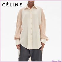 CELINE Wool Bi-color Long Sleeves Plain Long Oversized