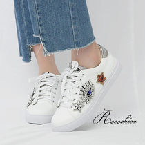 Star Round Toe Lace-up Casual Style With Jewels