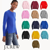 J Crew Crew Neck Casual Style Cashmere Long Sleeves Plain Cashmere