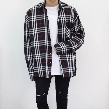 Shirts Tartan Unisex Street Style Long Sleeves Cotton Oversized 2