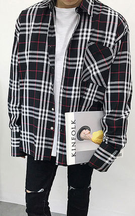 Shirts Tartan Unisex Street Style Long Sleeves Cotton Oversized 3
