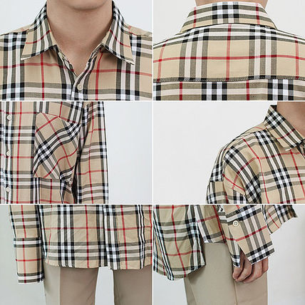 Shirts Tartan Unisex Street Style Long Sleeves Cotton Oversized 7