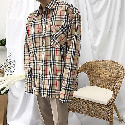 Shirts Tartan Unisex Street Style Long Sleeves Cotton Oversized 9