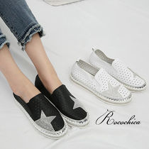 Star Casual Style Blended Fabrics With Jewels Slip-On Shoes
