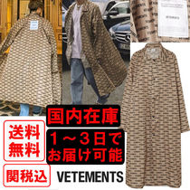 VETEMENTS Stand Collar Coats Monoglam Street Style Long Oversized