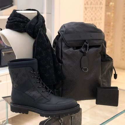 Louis Vuitton Backpacks Monogram Blended Fabrics Street Style A4 Leather Backpacks