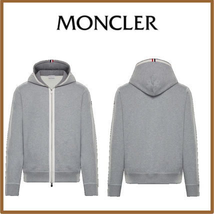 MONCLER Cardigans Street Style Long Sleeves Plain Cotton Logos on the Sleeves