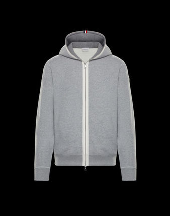 MONCLER Cardigans Street Style Long Sleeves Plain Cotton Logos on the Sleeves 2