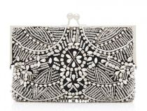FOREVER NEW Flower Patterns 2WAY Chain Party Style With Jewels Clutches