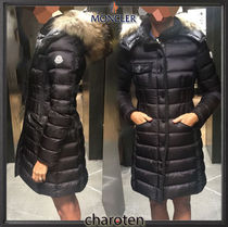 MONCLER HERMIFUR Fur Blended Fabrics Street Style Plain Long Down Jackets