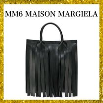 MM6 Maison Margiela Unisex Street Style A4 Plain Leather Oversized Elegant Style