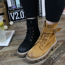 Plain Toe Mountain Boots Casual Style Suede Plain