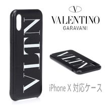 VALENTINO Unisex Street Style Plain Leather Smart Phone Cases