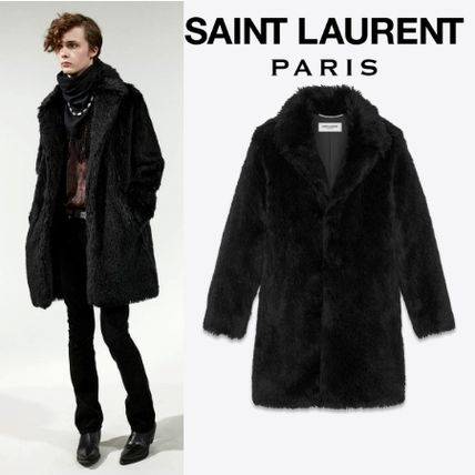 0bab2149863 Saint Laurent Faux Fur Plain Long Chester Coats (529574Y567T1000) by ...