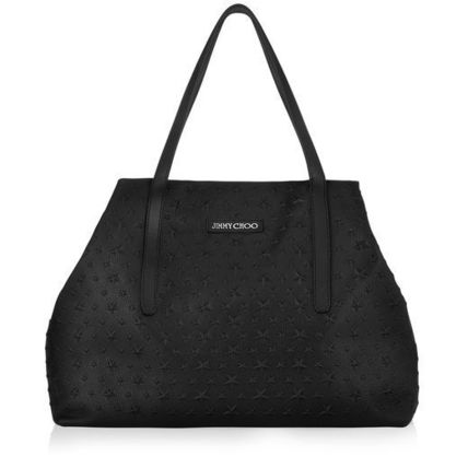 Jimmy Choo Totes Star Unisex Calfskin Street Style A4 Plain Totes 2