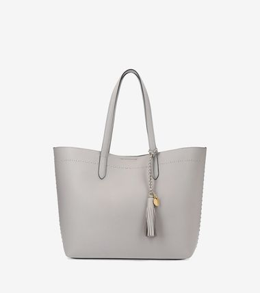 Tassel A4 Plain Leather Office Style Totes
