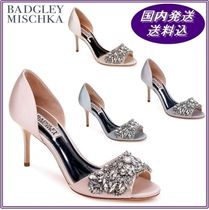 Badgley Mischka Open Toe Plain Leather Pin Heels Party Style With Jewels