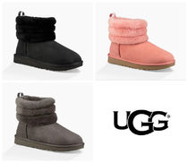 UGG Australia CLASSIC MINI Plain Toe Round Toe Rubber Sole Sheepskin Blended Fabrics