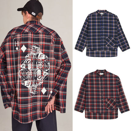 HEICH BLADE Shirts Crew Neck Tartan Unisex Street Style Long Sleeves Cotton