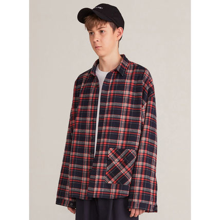 HEICH BLADE Shirts Crew Neck Tartan Unisex Street Style Long Sleeves Cotton 3