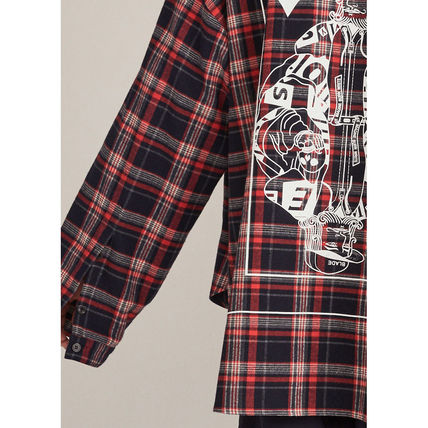 HEICH BLADE Shirts Crew Neck Tartan Unisex Street Style Long Sleeves Cotton 8