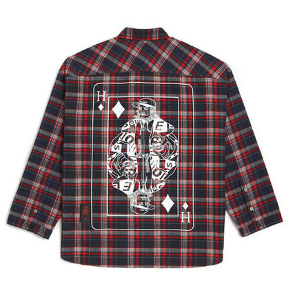 HEICH BLADE Shirts Crew Neck Tartan Unisex Street Style Long Sleeves Cotton 10