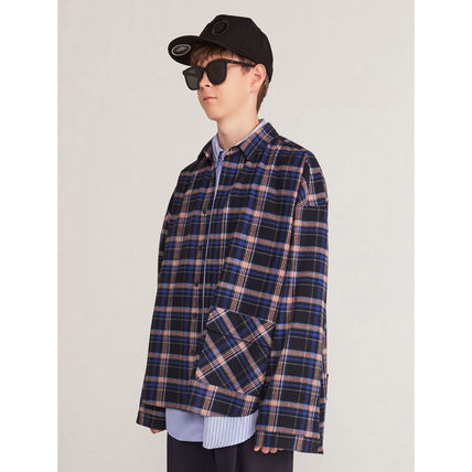 HEICH BLADE Shirts Crew Neck Tartan Unisex Street Style Long Sleeves Cotton 12