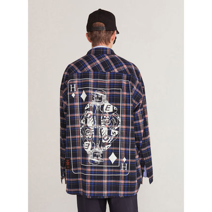 HEICH BLADE Shirts Crew Neck Tartan Unisex Street Style Long Sleeves Cotton 13