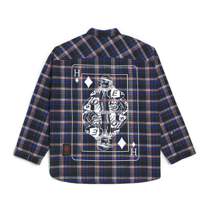 HEICH BLADE Shirts Crew Neck Tartan Unisex Street Style Long Sleeves Cotton 19