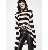 DOLLS KILL Crew Neck Stripes Casual Style Street Style Long