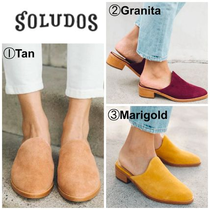 Open Toe Casual Style Suede Plain Chunky Heels Mules