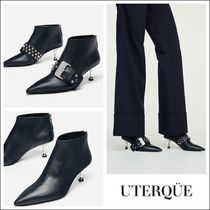 Uterque Plain Leather Pin Heels Elegant Style Ankle & Booties Boots