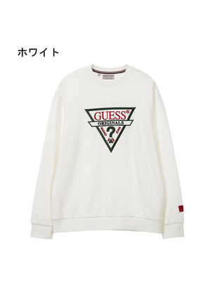 Guess Sweatshirts Unisex U-Neck Long Sleeves Plain Cotton Sweatshirts 5