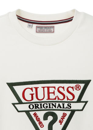 Guess Sweatshirts Unisex U-Neck Long Sleeves Plain Cotton Sweatshirts 7