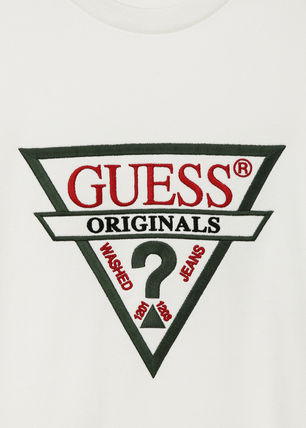 Guess Sweatshirts Unisex U-Neck Long Sleeves Plain Cotton Sweatshirts 8