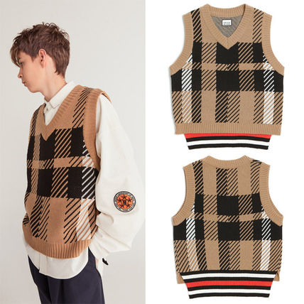 Other Check Patterns Unisex Street Style Vests & Gillets
