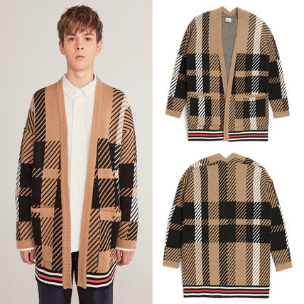 Other Check Patterns Unisex Street Style Cardigans