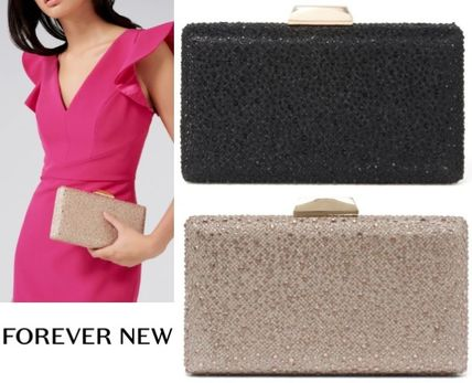 2WAY Chain Plain Party Style With Jewels Clutches