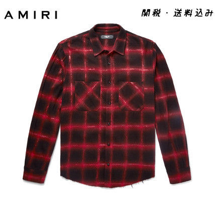 AMIRI Shirts Button-down Other Check Patterns Street Style Long Sleeves