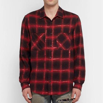 AMIRI Shirts Button-down Other Check Patterns Street Style Long Sleeves 2