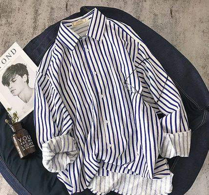 Shirts Stripes Street Style Long Sleeves Shirts 3