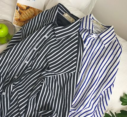 Shirts Stripes Street Style Long Sleeves Shirts 6