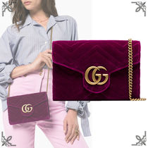 GUCCI GG Marmont Suede 2WAY Chain Plain Elegant Style Shoulder Bags