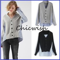 Chicwish Casual Style Blended Fabrics V-Neck Long Sleeves Plain