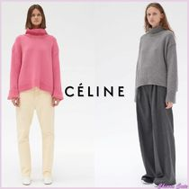 CELINE Short Casual Style Cashmere Long Sleeves Plain Oversized