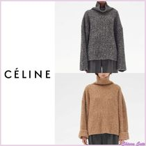 CELINE Casual Style Cashmere Long Sleeves Plain Medium Oversized