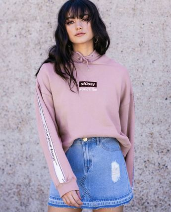 Street Style Long Sleeves Cotton Medium Logos on the Sleeves