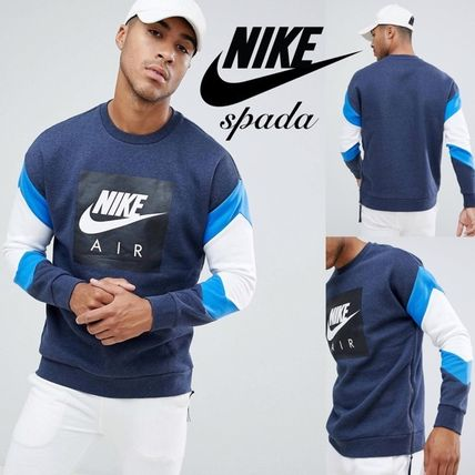 Nike Sweatshirts Crew Neck Sweat Street Style Bi-color Long Sleeves