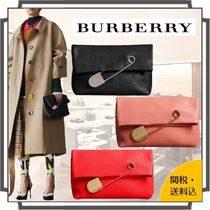 Burberry Casual Style Blended Fabrics Bi-color Plain Leather